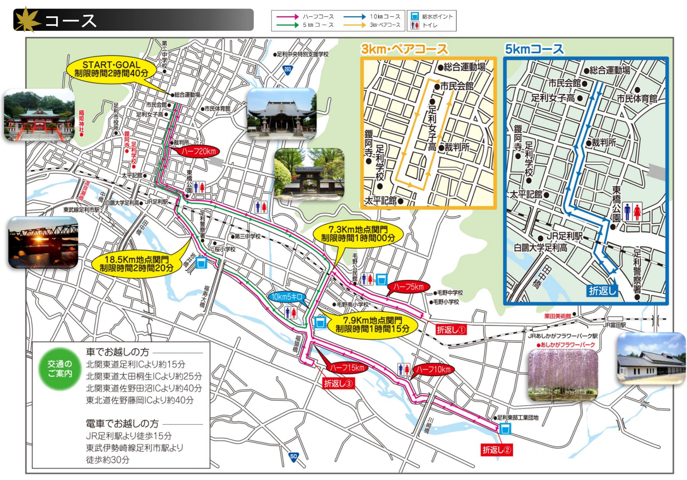 足利尊氏公ハーフマラソンコースマップ