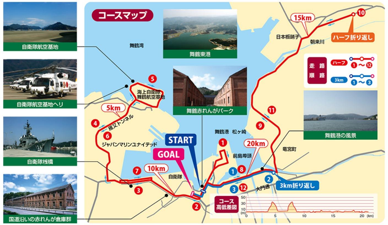 舞鶴赤レンガハーフマラソンコースマップ