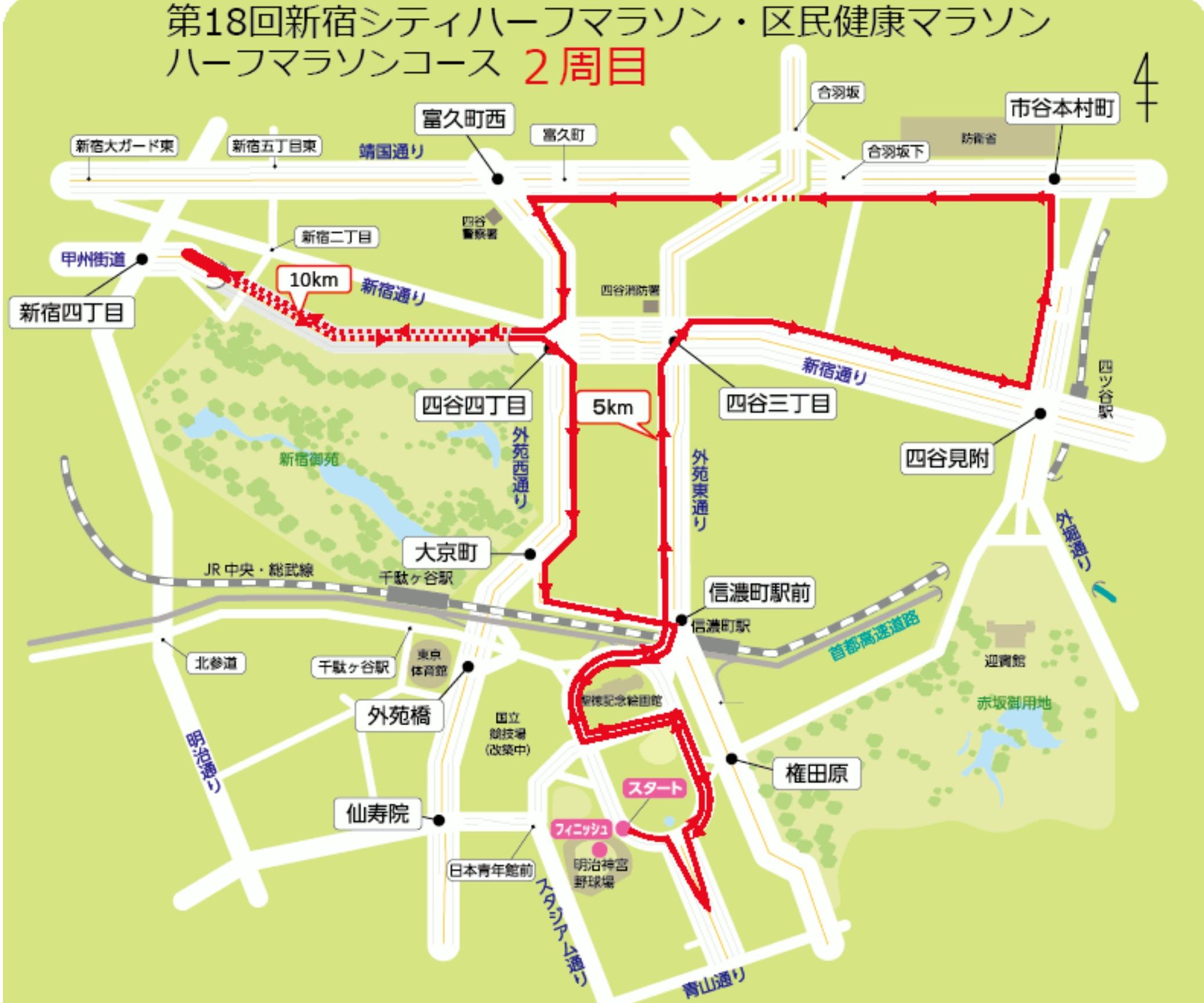 新宿シティハーフマラソンコースマップ