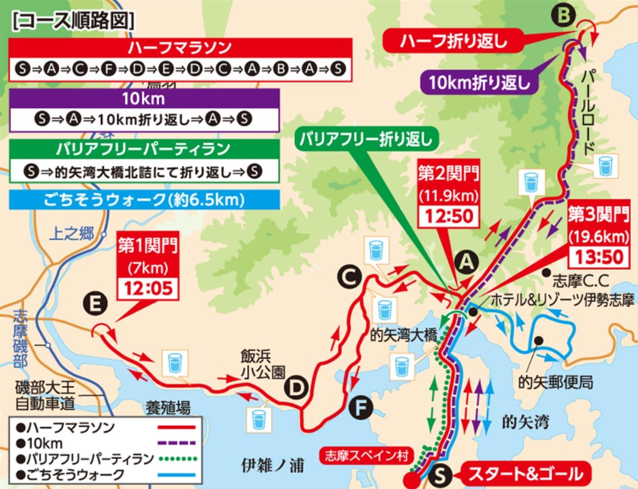 志摩ロードパーティハーフマラソンコースマップ