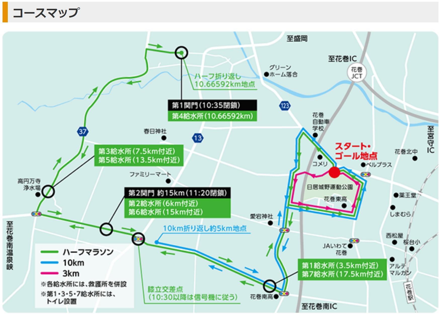 イーハトーブ花巻ハーフマラソンコースマップ