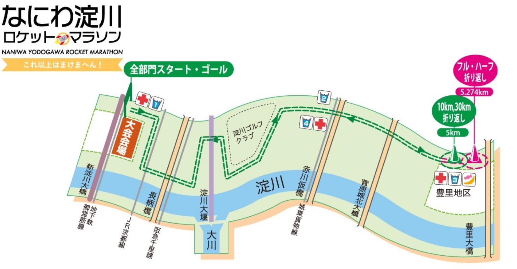 なにわ淀川ハーフマラソンコースマップ