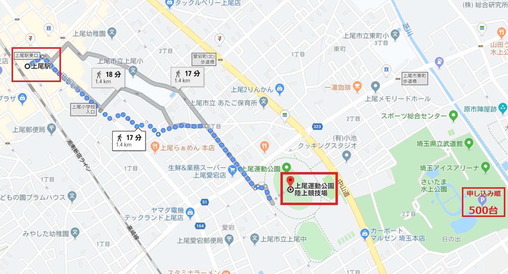 上尾シティハーフマラソン会場アクセスマップ