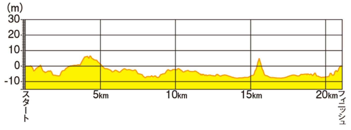 函館マラソン高低差マップ